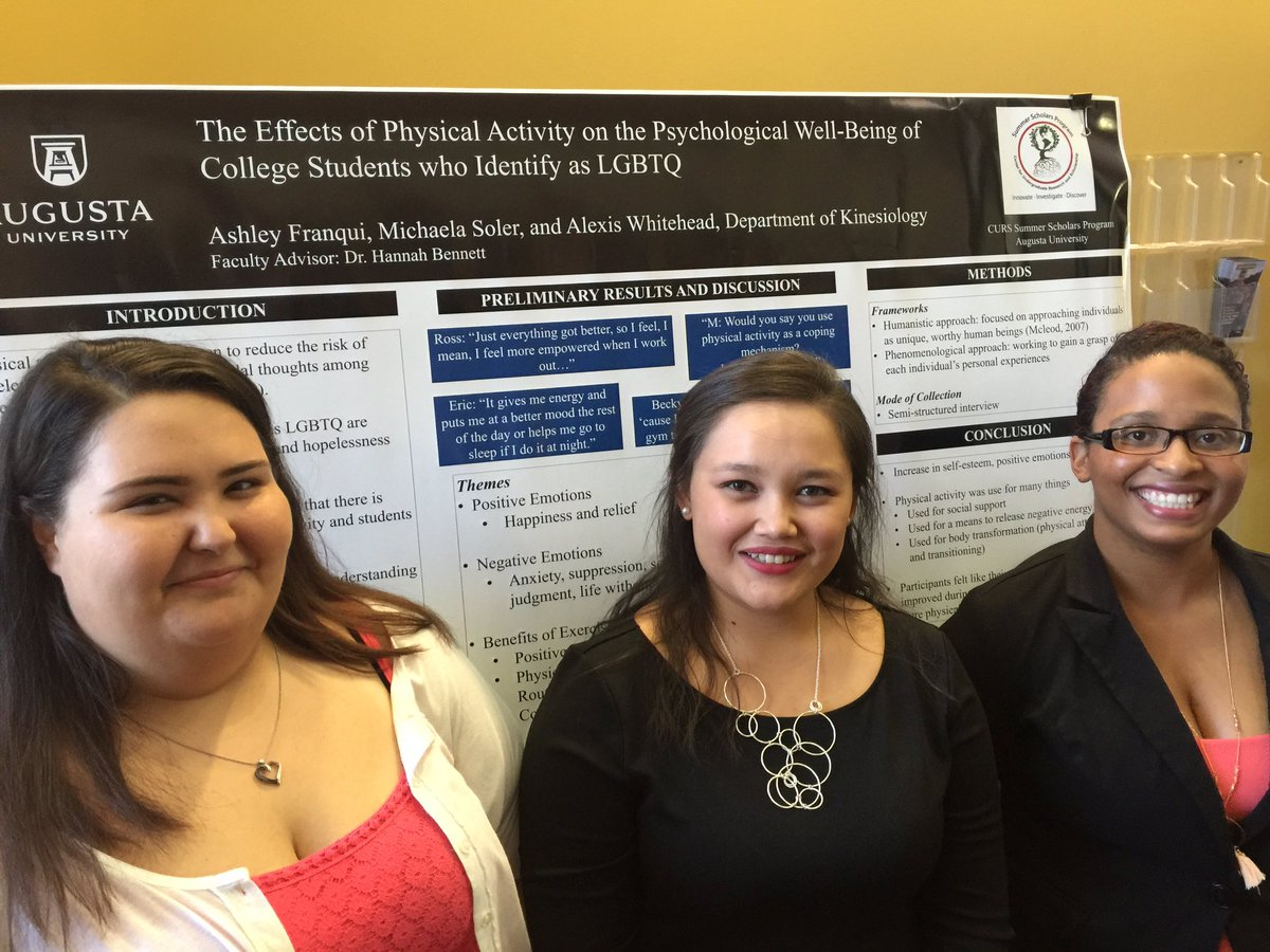 """Led by Dr. Hannah Bennett (not pictured), Alexis Whitehead (from left), Michaela Soler, and Ashley Frnaqui researched """"The Effects of Physical Activity on the Psychological Well-Being of College Students who Identify as LGBTQ."""""""
